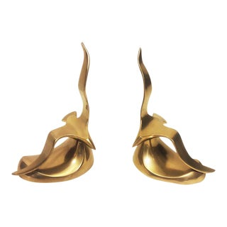 Mid-Century Modern Brass Seagull Bookends- A Pair