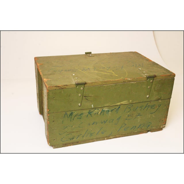 Vintage Distressed Green Military Trunk - Image 3 of 11