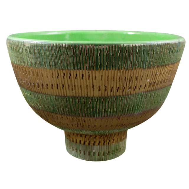 Bisotti Italian Green & Gold Footed Pottery Bowl - Image 1 of 6