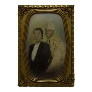 """Vintage Bubble Glass Framed """"Black Soldier and His Wife"""" Black & White Photograph"""
