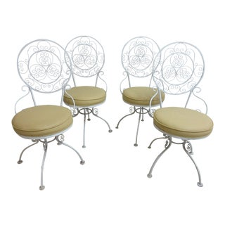 Vintage Scrolled Iron Swivel Patio Dining Chairs - Set of 4