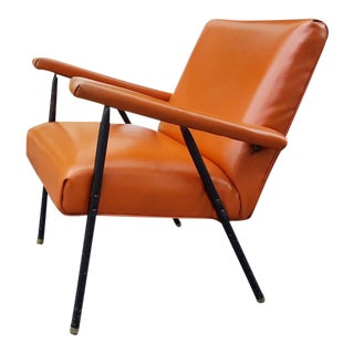 Vintage Orange Vinyl Armchair