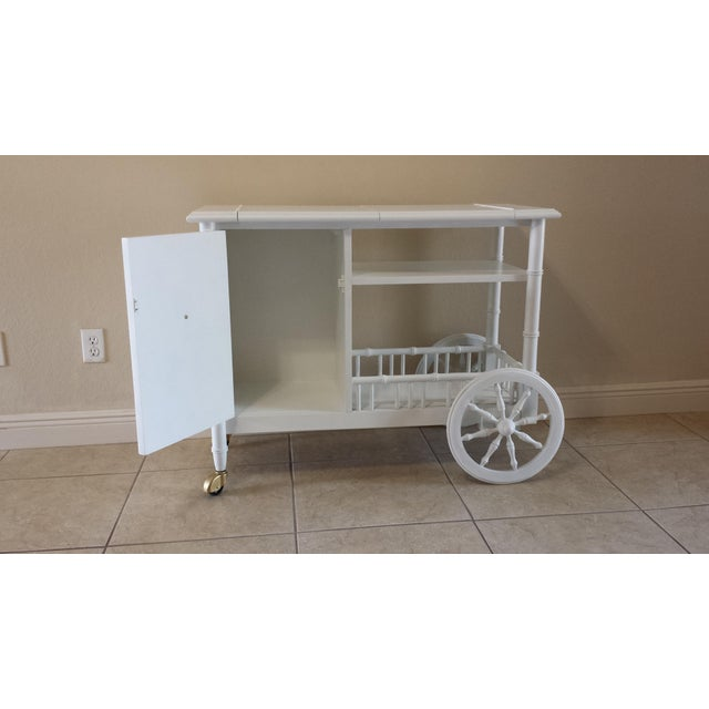 Hollywood Regency Faux Bamboo Bar Cart - Image 5 of 11