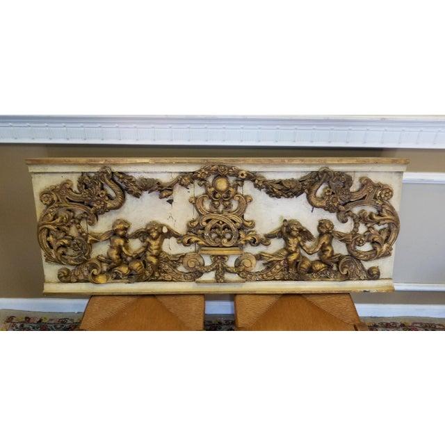 Antique Italian 19th Century Carved Wood Gilded Cherub Putti Panel - Image 10 of 11