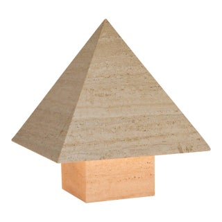 1970s Italian Travertine Pyramid Lamps - A Pair