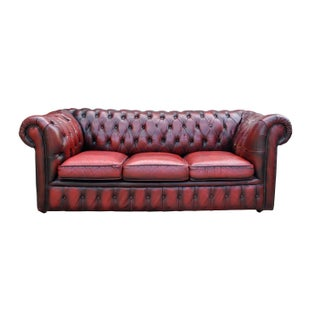 1920s Genuine Oxblood Stained Chesterfield Sofa