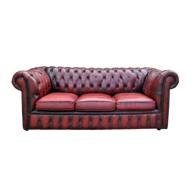 1920s Genuine Oxblood Stained Chesterfield Sofa Chairish
