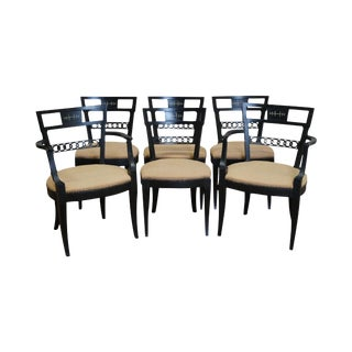 Vintage Regency Style Black Painted Dining Chairs - Set of 6