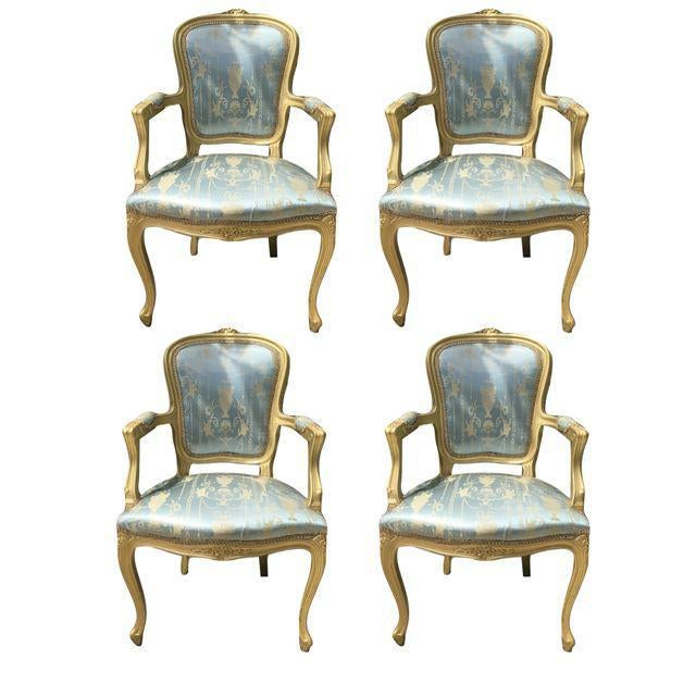 Gold Gilt Italian Louis XVI Settee & Chairs - Set of 5 - Image 3 of 8