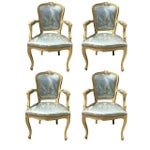 Image of Gold Gilt Italian Louis XVI Settee & Chairs - Set of 5