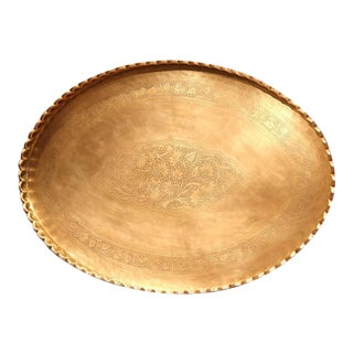French Oval Patinated Brass Tray with Engraving Flowers & Leaves
