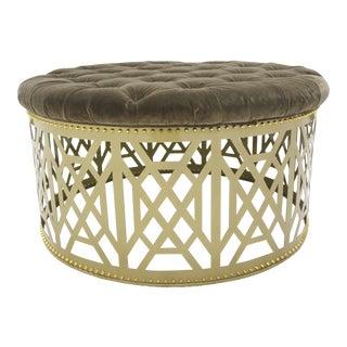 Taylor Broke Home Gold Fretwork Tufted Ottoman