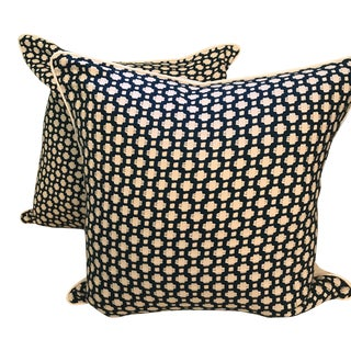 "23"" Schumacher Betwixt Indigo Pillows - A Pair"