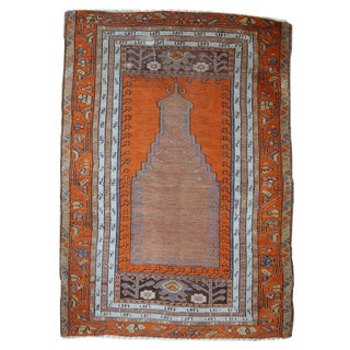 1940s Hand Made Antique Turkish Anatolian Prayer Rug - 3′3″ × 4′7″