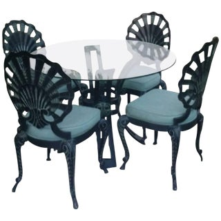 Art Deco Outdoor Patio Furniture - Table & 4 Chairs