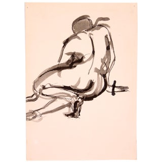 Drury Pifer 'Crouched' Figure Study in Ink