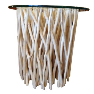 Bleached Round Twig Accent Table
