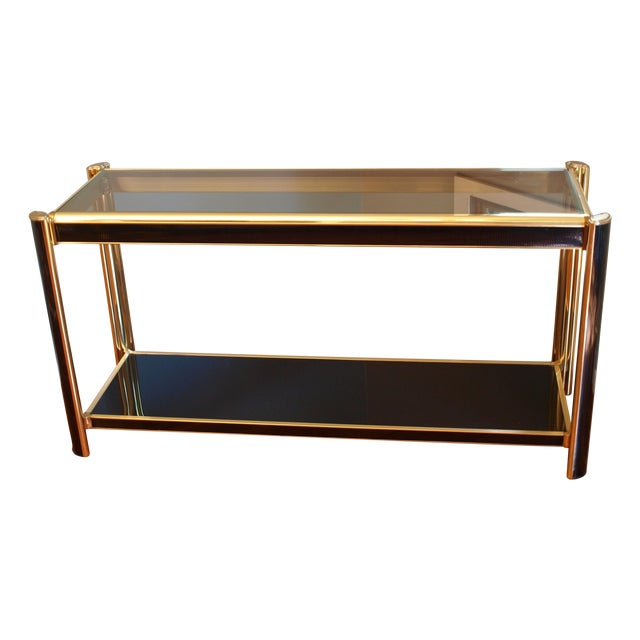 Black Sequin Wrapped Gold Console Table - Image 1 of 9