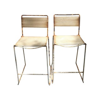 Vintage Industrial Bar Stools - A Pair
