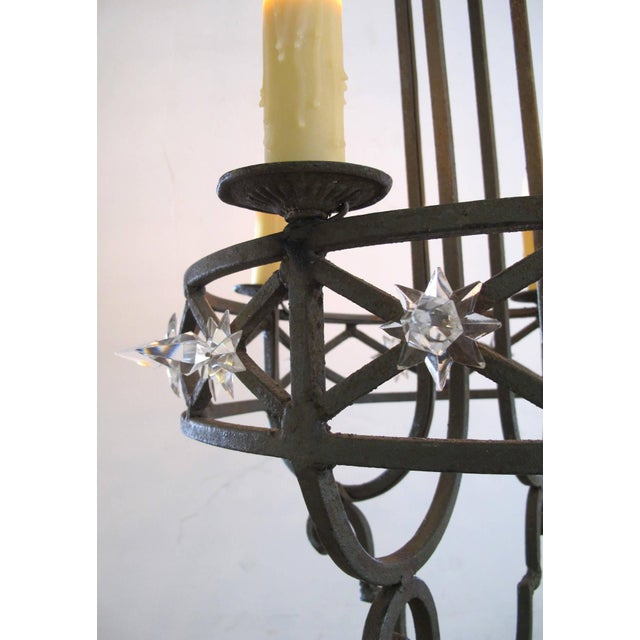 Well-Crafted Spanish Dark Green Painted Hand-Wrought iron Four-Light Chandelier - Image 4 of 5
