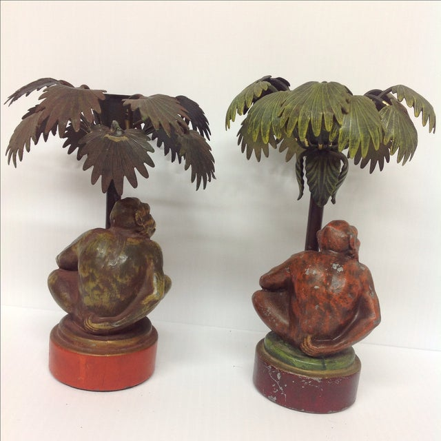 Image of Cold Painted Monkey & Palm Candle Holders