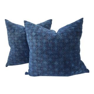 Cotton Velvet Block Print Pillows - A Pair