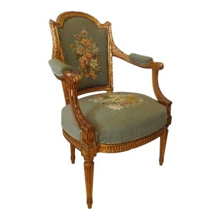 French Gilt Wood Needlepoint Fauteuil