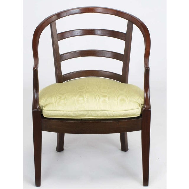 Pair Bert England For Baker Mahogany Barrel Back Arm Chairs - Image 6 of 10
