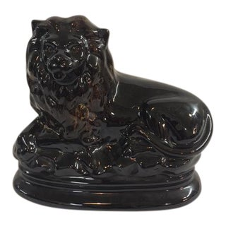 Staffordshire Black Lion Figurine