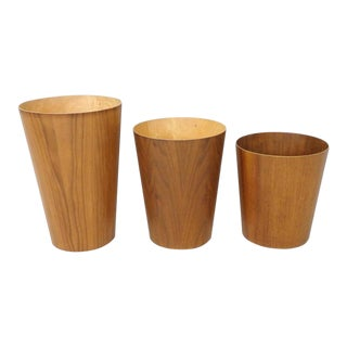 Three Graduated Height Rainbow Swedish Teak Waste Baskets