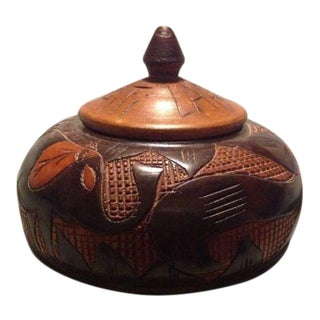 Vintage Hand Carved Haitian Wooden Decorative Box