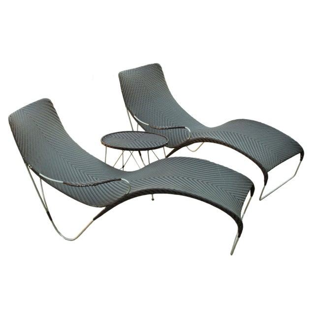 Vintage yuzuru yamakawa rattan chaise lounges and table for Chaise longue rattan sintetico
