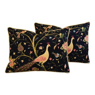 Designer Chinoiserie Peacock & Floral Feather/Down Pillows - Pair
