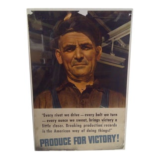 """""""Iron Worker"""" Vintage WWII Victory Poster"""