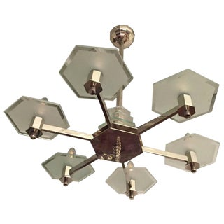 French Art Deco Six-Arm Modernist Chandelier