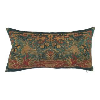 Chinoiserie Jade Silk Crane Boudoir Pillow