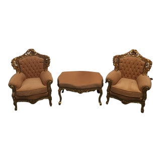 Traditional Tufted Chairs & Ottoman - Set of 3