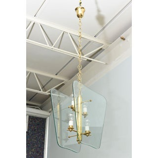 Pair of Italian Modern Brass and Etched Glass Chandeliers/Pendants Pietro Chiesa