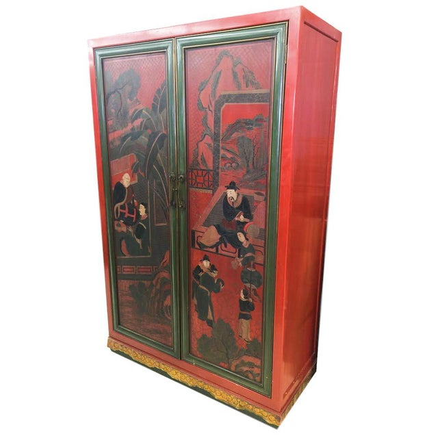 Hand Painted Chinoiserie Red Armoire - Image 2 of 5