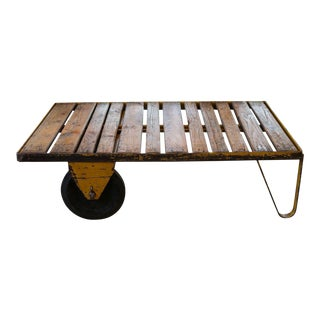 Vintage Belgian Industrial Wood and Iron Rolling Cart or Coffee Table