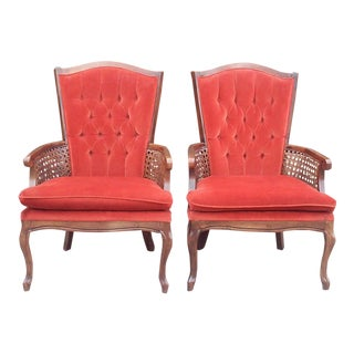 French Burnt Orange Tufted High Back Cane Arm Chairs-A Pair