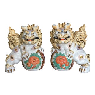 Japanese Guardian Lion Foo Dog Statues - a Pair