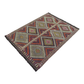 "Vintage Turkish Kilim Rug - 4'4"" X 6'2"""
