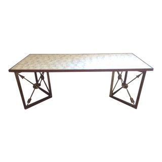 French 1940's Moderne Bronze Coffee Table With Inlaid Mother of Pearl Top