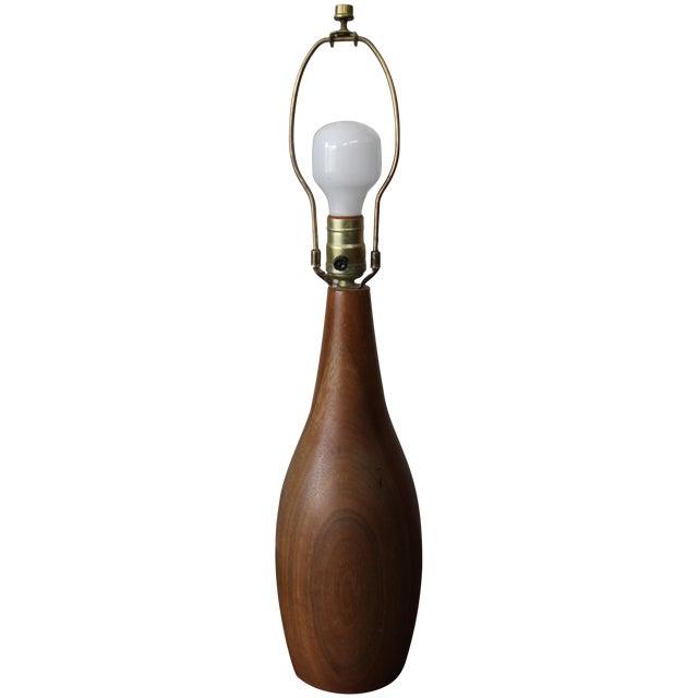 Image of Mid-Century Danish Modern Teak Bulb-Style Lamp