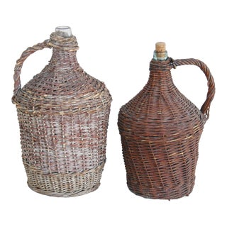 Large French Wicker Demijohn Bottles - Set of 2
