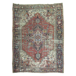Distressed Persian Heriz Rug - 8′2″ × 10′8″