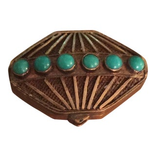 Antique Sterling Silver & Turquoise Pill Box