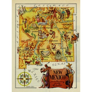Vintage New Mexico Pictorial Map, 1946