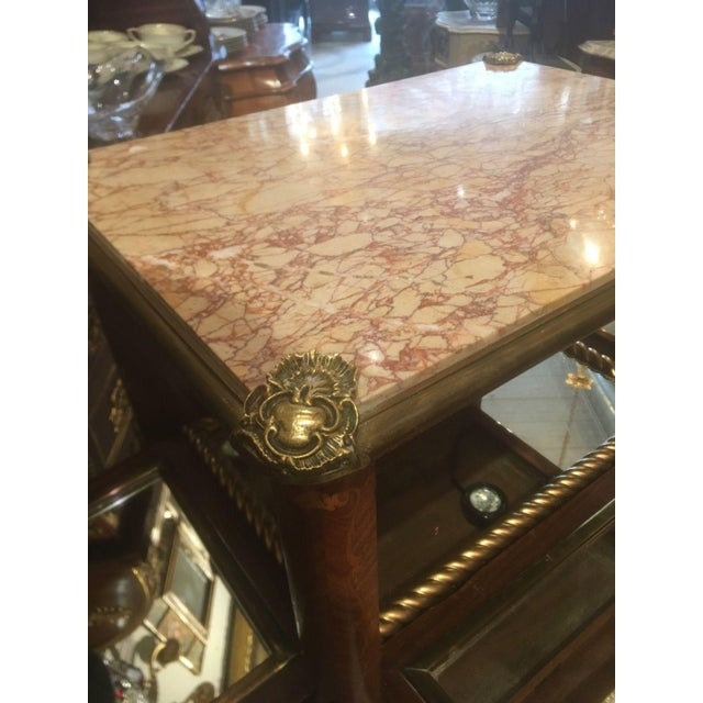 Antique Fine French Marble Top Gilt Bronze Mounted Inlaid Bar Liquor Cabinet - Image 11 of 11